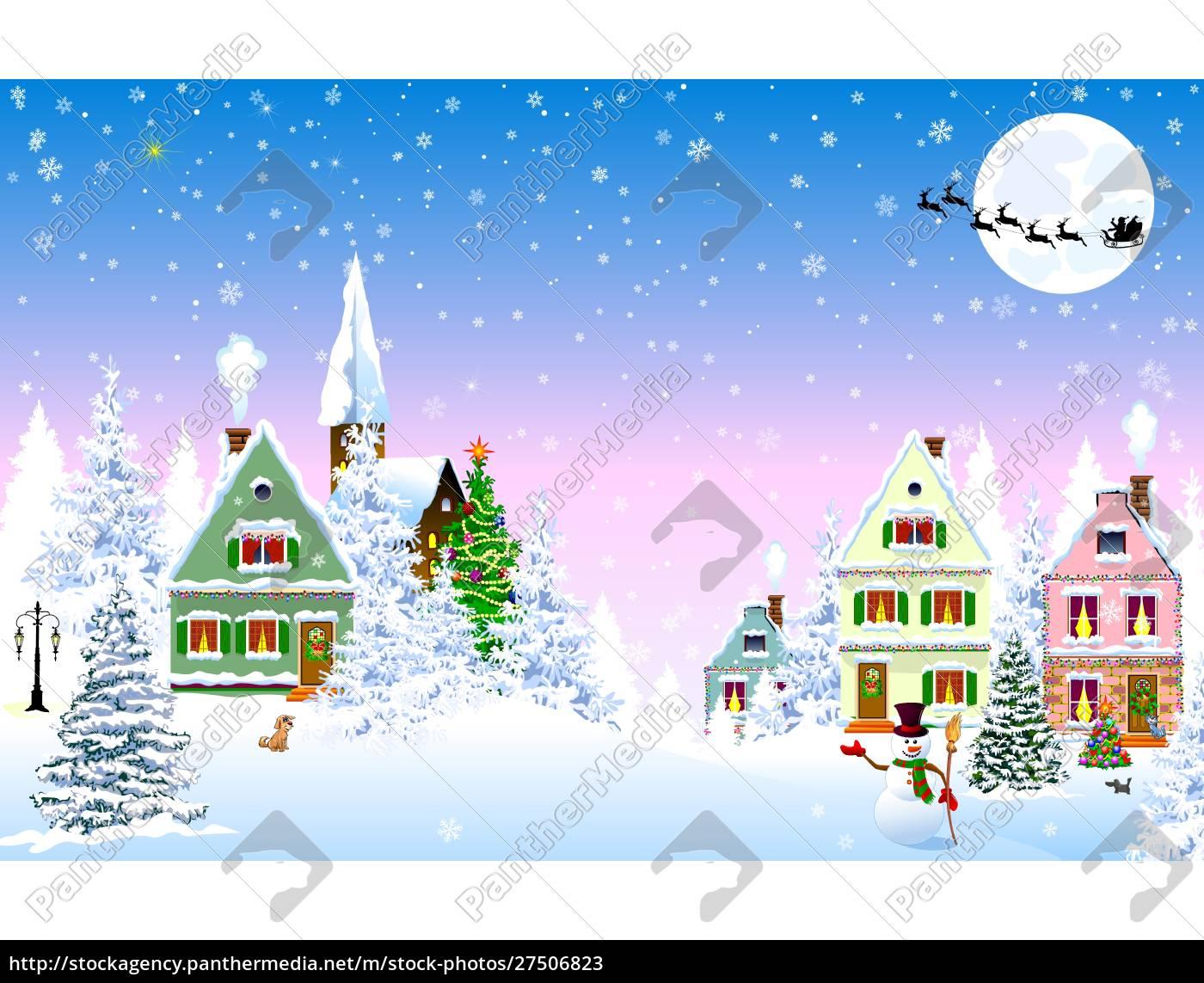 snowy, christmas, night, houses, scene - 27506823
