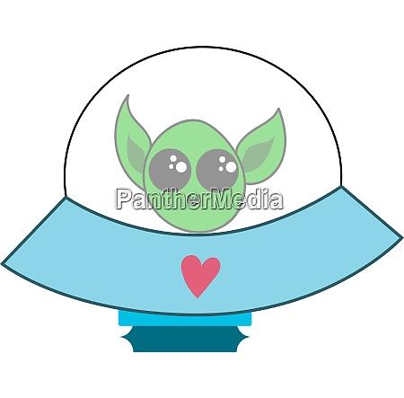an alien in ufo vector