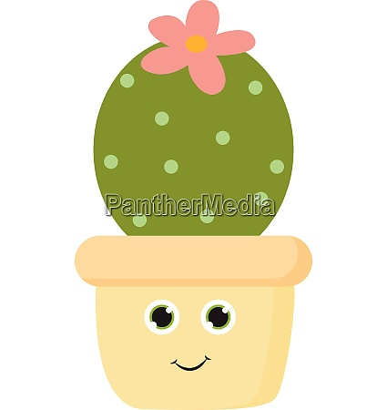 cactus with violet flower vector