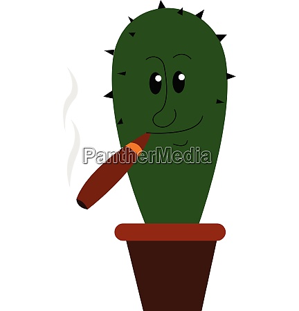 cactus with cigar vector or
