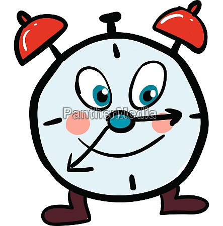 happy clock with red ring bells