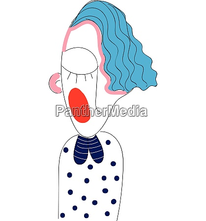 curly haired girl hand drawn design