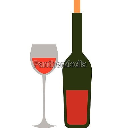wine glass and bottle hand drawn