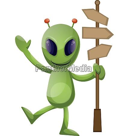 alien with roadsign illustration vector on