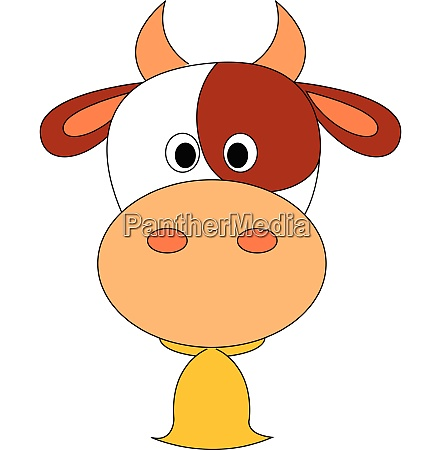 cow with bell vector or