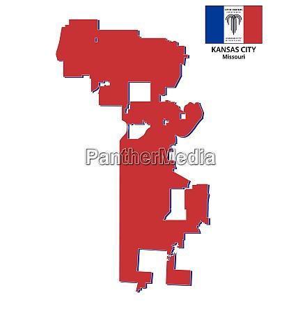 kansas city missouri map with flag