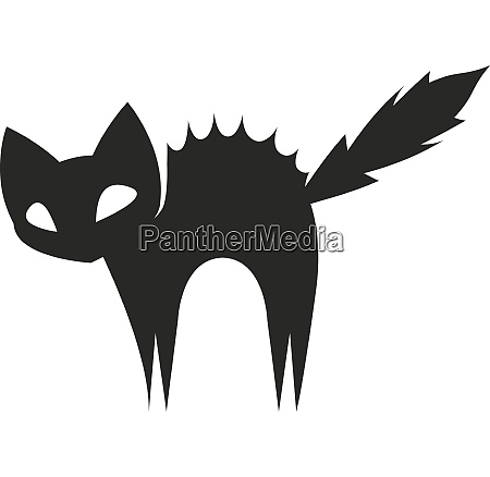 silhouette of a scared black cat