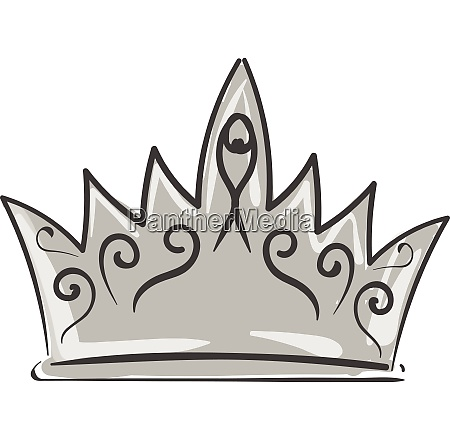 painting of a silver crown vector