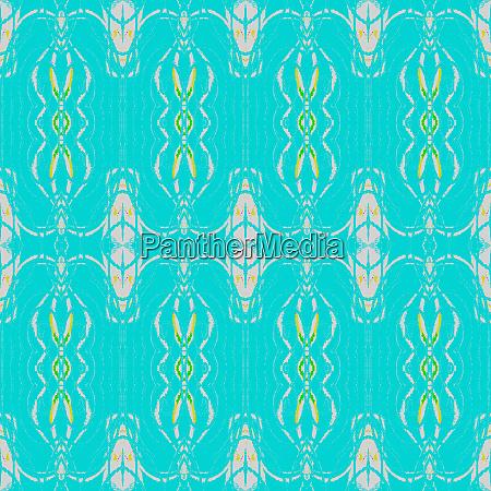 regular ornamental pattern turquoise off white