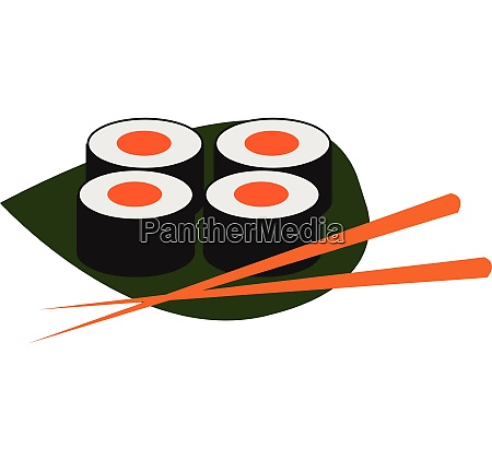 clipart of sushi and chopsticks over