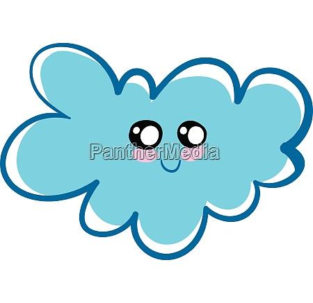 smiling blue fluffy cloud illustration vector
