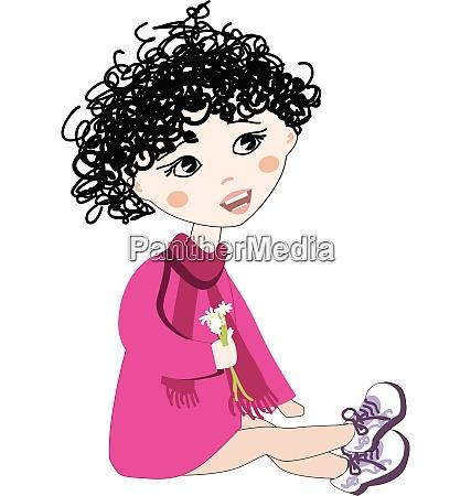 little girl holding flowers illustration vector