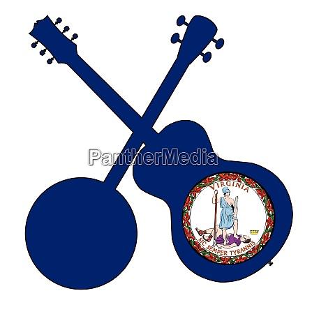 virginia state flag banjo and guitar