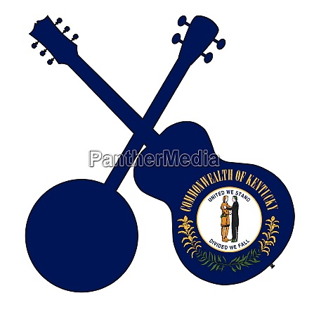 kentucky state flag banjo and guitar