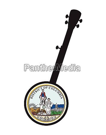 banjo silhouette with washington dc state