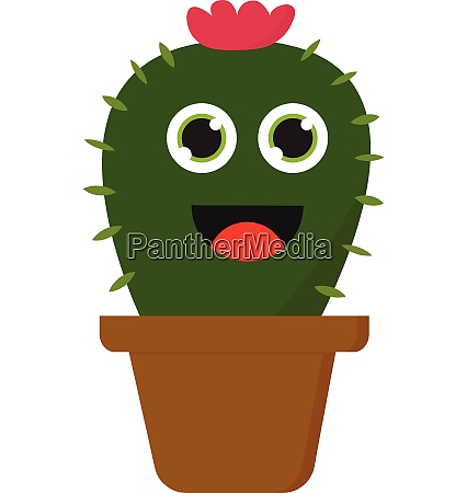 little cactus vector or color illustration