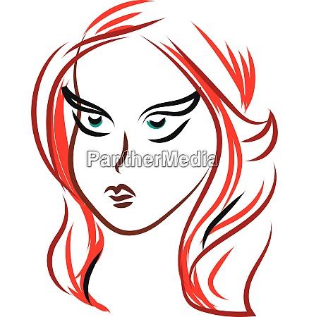 girl red hair sketch vector or