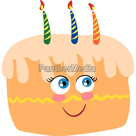 happy cake vector or color illustration