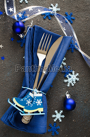 christmas table setting winter background for