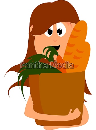 girl with groceries illustration vector on