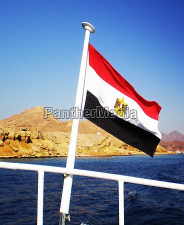 egyptian flag of the pleasure yacht