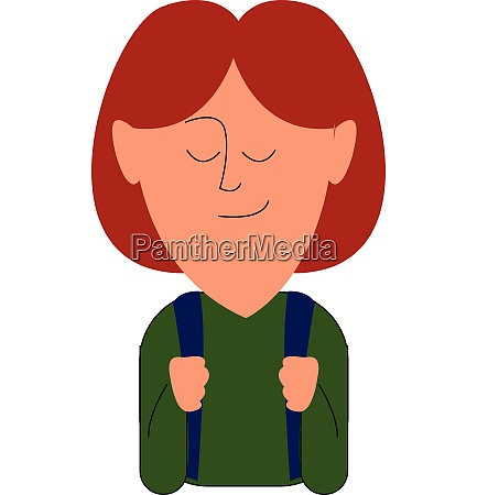 school girl with bag vector or