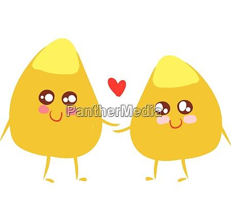corn kernels in love vector or