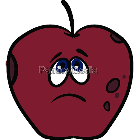 sorrowful apple vector or color illustration