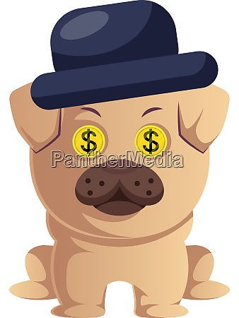 pug with hat illustration vector on