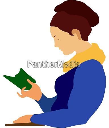 girl reading illustration vector on white