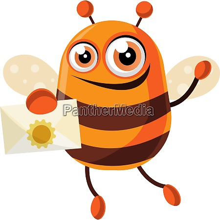 bee is holding a letter illustration