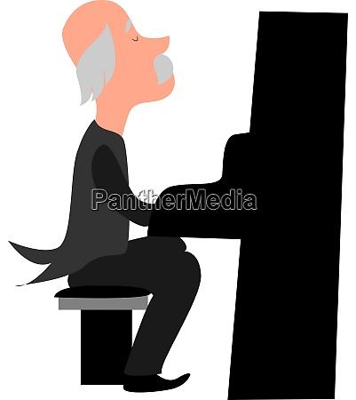 old pianist illustration vector on white
