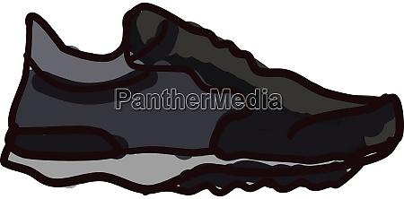 black sneaker illustration vector on white