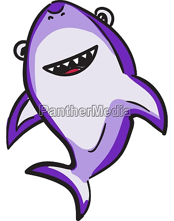 purple shark illustration vector on white