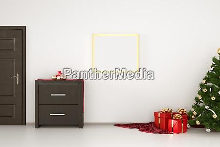 mock up canvas poster gold frame