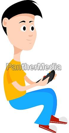 gamer boy illustration vector on white