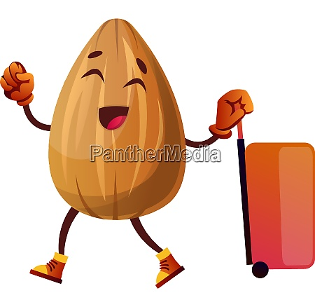 almond is ready for travelling illustration