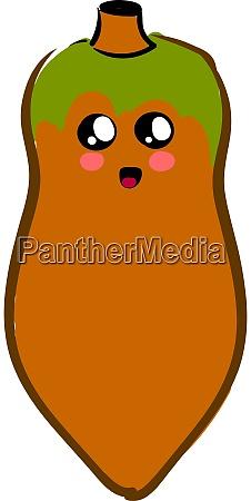 cute papaya illustration vector on white