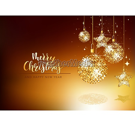 christmas greeting card with gold glitter