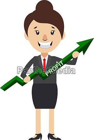 woman with profit sign illustration vector