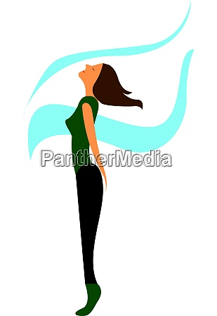 a gymnast girl and wind blowing