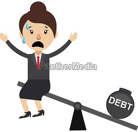 woman on debt illustration vector on