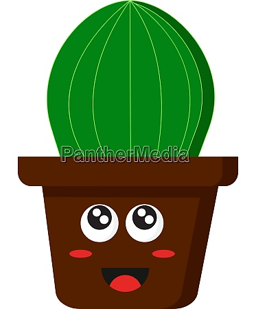 a happy pot with cactus vector