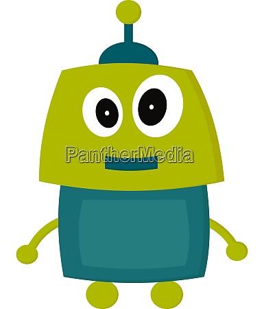 a green happy robot vector or