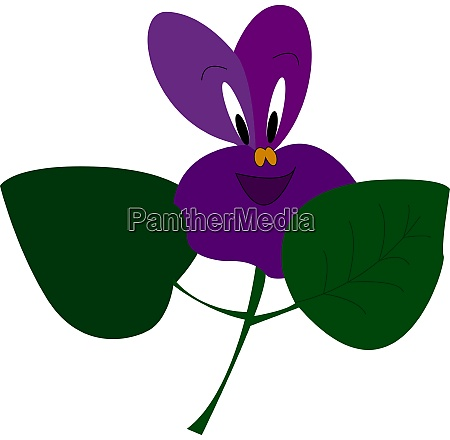 a happy violet flower vector or
