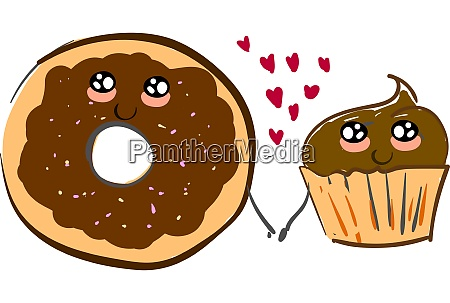 a donut and a cupcake holding