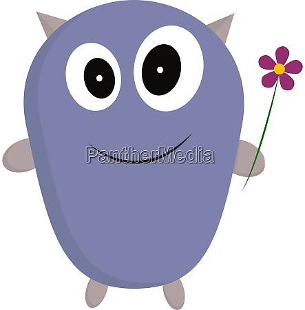 a monster with a flower vector