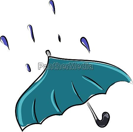 blue umbrella illustration vector on white