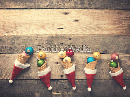 old used christmas baubles in an