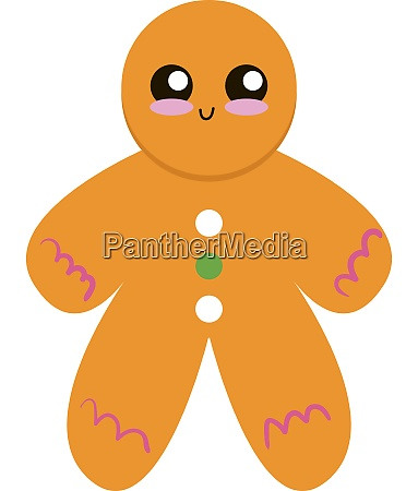 cute gingerbread illustration vector on white